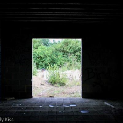 Dark inside and bright doorway