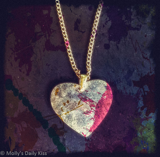 Stained and splatter love heart necklace